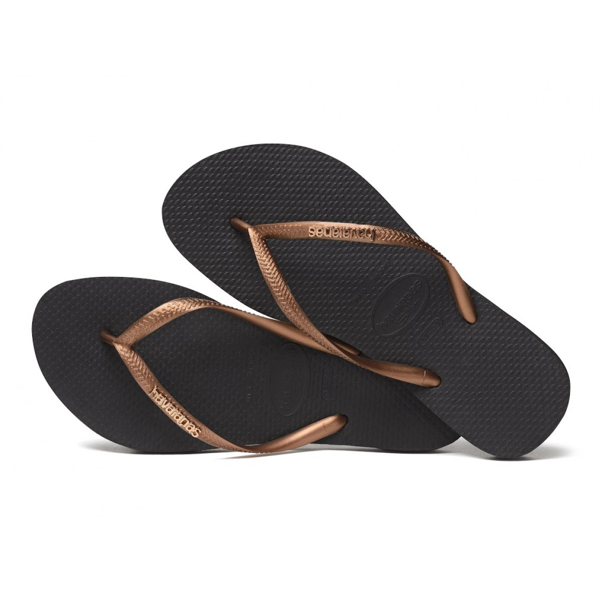 Havaianas Slim Logo Metallic Black / Copper-32