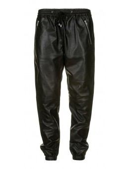 Depeche 12510 Black leather baggy pant with zipper pockets-20