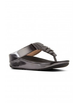 FitFlop Cha Cha Fringe Toe-Thong Sandals Metallic Black-20