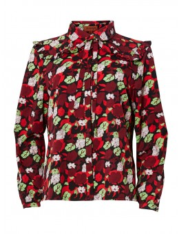 Hunkøn Flower Red Print skjorte-20
