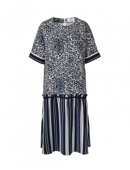 Libertine-Libertine Fringe Dress Dark Navy On White-20