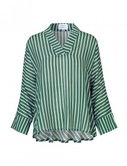 Libertine-Libertine Revolve Blouse Olive-Powder-Blue Stripe-20