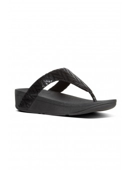 FitFlop Lottie Chevron Suede Toe Post Black-20