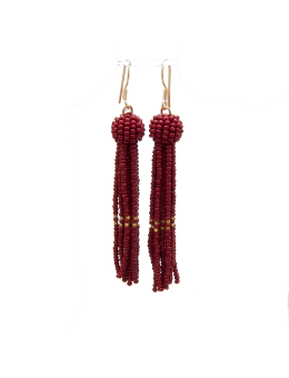 By Mickleit Tassel Earring 617 Wine/Gold-20