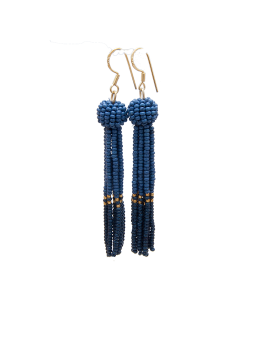 By Mickleit Tassel Earring 624 Navy/Gold-20