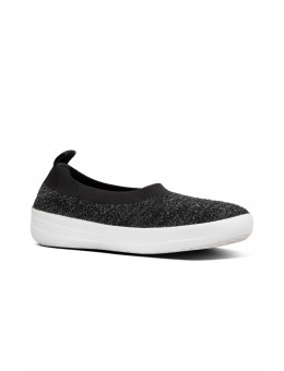 FitFlop Uberknit Ballerina Crystal Black/Soft Grey-20