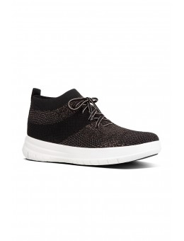 FitFlop Uberknit Slip-On High Top Sneaker Black/Bronze Metallic-20