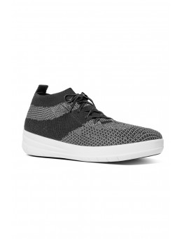 FitFlop Uberknit™ High Top Sneaker Black/White-20